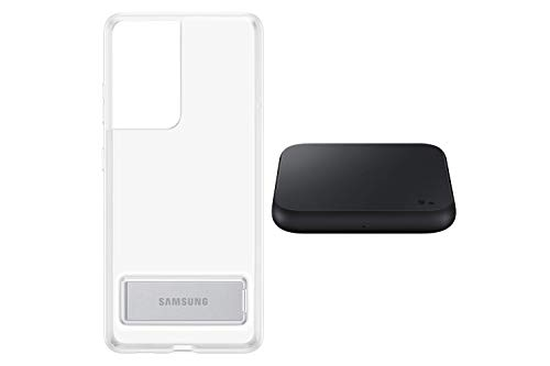 Samsung EF-JG998 - Carcasa para Samsung Galaxy S21 Ultra (función Atril, antigolpes, Incluye Cargador inalámbrico P1300), Color Negro