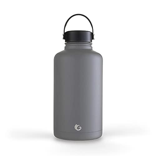 Una botella verde – Botella de acero inoxidable épica, botella a prueba de fugas con aislamiento al vacío de triple pared, criador de cerveza, barril de gimnasio, 64 onzas (2 L) (Thunder)