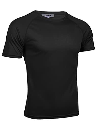 Wayleb Camiseta Manga Corta Hombre Verano Camiseta Fútbol Deportiva Básica T-Shirt Casual Tops Secado Rápido Cuello Redondo Jogging Gimnasio,Negro,XXL