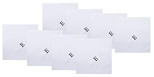 Retreez 8 Piece Pure Cotton Initial Monogrammed Men's Handkerchiefs Hanky Gift Box Set - Set E Initial