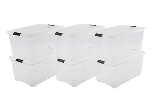 Iris Ohyama, 6er-Set stapelbare Aufbewahrungsboxen mit Klickverschluss - New Top Box NTB-45 - plastik, transparent, 6 x 45 L, L58 x B39,5 x H30,5 cm