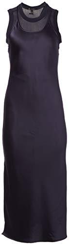 Armani Exchange AX Damen Sleeveless Satin Double Layer Midi Dress Freizeitkleidung, Blueberry, 32