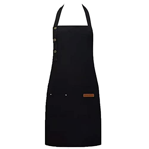 Cotton Apron Women Men Adjustable Aprons for BBQ Chef Cooking Artist Resistant Canvas Kitchen Waterproof Aprons with 3 Tool Pockets (1pack,Black)