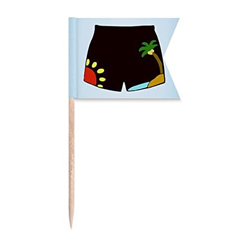 Beauty Gift Black Beach Pant Illustration Muster Markierung für die Kennzeichnung von Zahnstocher-Flaggen