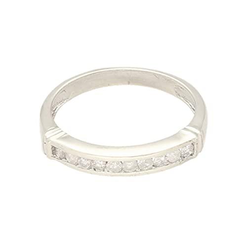 Anillo de eternidad de oro blanco de 9 quilates con diamantes de 0,25 quilates (talla L 1/2) de 2,5 mm de ancho   Anillo de lujo para mujer
