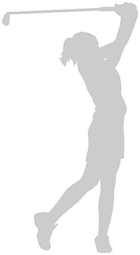 Samunshi® Autoaufkleber Golfspielerin Aufkleber in 8 Größen und 25 Farben (5,5x10cm silbermetalleffekt)