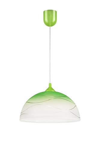 Retro Pendelleuchte Glas Grün Weiß Ø30cm E27 knallig Hängelampe Küchenlampe Esszimmerleuchte