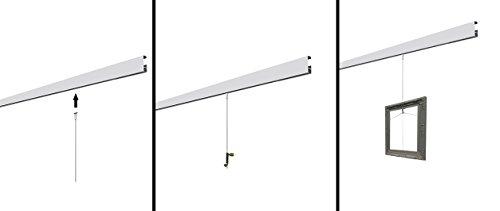 clip-rail blanco galería sistema para colgar cuadros Stas cliprail Kit montado en la pared con ganchos, 6 Meter