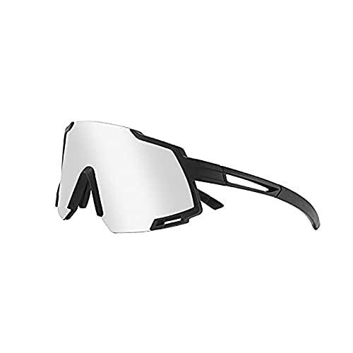 Portonss Gafas de Montar polarizadas, Lente inverso Protectora UV 400, Gafas Protectoras, adecuadas para Deportes al Aire Libre, Correr, Montar, Pescar