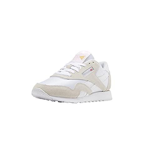 Reebok womens Classic Nylon Sneaker, Classic White/Light Grey 2, 9.5 US