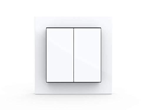 GIRA + Senic Friends of Hue Smart Switch: Kabelloser Schalter und Dimmer Kompatibel mit Philips Hue (Keine Batterien, Kein Aufladen), Weiß Glänzend