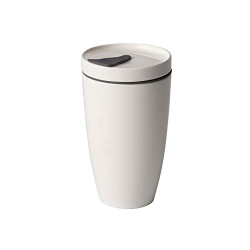 Villeroy & Boch To Go Coffee Becher 350 ml randvoll gemessen, Permium Porzellan/Silikon, weiß, 15 cm