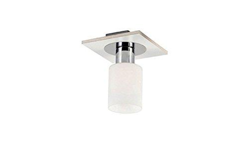 Homemania plafondlamp Atlas kleur wit chroom, hout en glas voor woonkamer, keuken, slaapkamer, kantoor E14