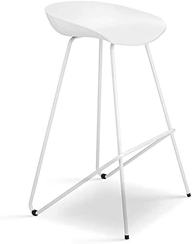 Taburetes de barra de hierro, silla de bar moderna, silla de plástico de PP de color gris / blanco / blanco / blanco y andamio de hierro forjado, adecuado para contador, cocina de desayuno, 2 colores,