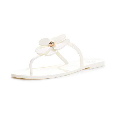 Tory Burch Flower Logo Jelly Thong Flip Flops Sandals (8, New Ivory)