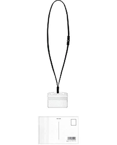 コクヨ 吊り下げ名札セット アイドプラス プロテクト 名刺サイズ 黒 ナフ-SP180D + 画材屋ドットコム ポストカードA