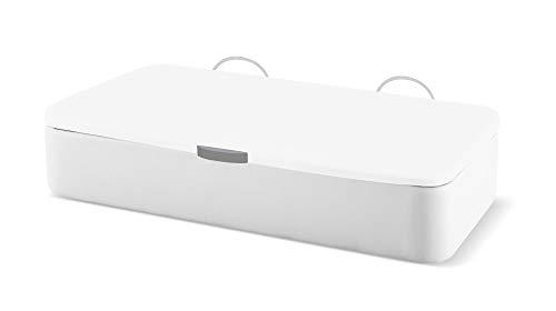 Naturconfort Canapé Abatible Ecopel Blanco Premium Tapizado Apertura Lateral Tapa 3D Blanca 80x180cm Envio y Montaje Gratis