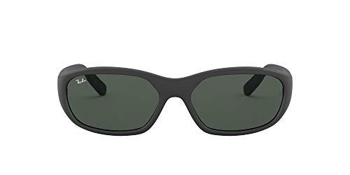 Ray-Ban Men's RB2016 Daddy-O II Rectangular Sunglasses, Matte Black/Green, 59 mm