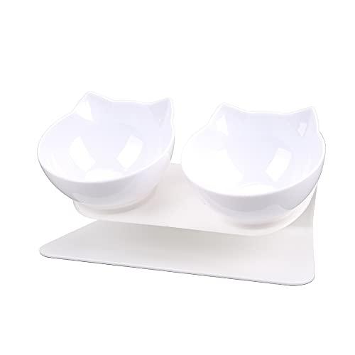 Cuenco para Gatos, Cuenco Doble para Perros, Material ABS, Antideslizante para Proteger la Columna Cervical, fácil de Limpiar, Blanco