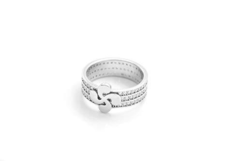 Talisman Jewellery - Anillo Plata Rodiada con circonitas Blancas y Lauburu Central. - CONFIRMAR DISPONIBILIDAD DE Tallas Antes DE Comprar - (54)