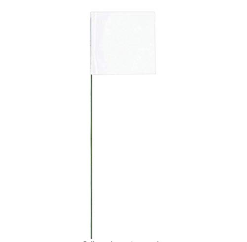 Swanson FW15100 2-Inch by 3-Inch Marking Flags with 15-Inch Wire Staffs, White 100-Pack