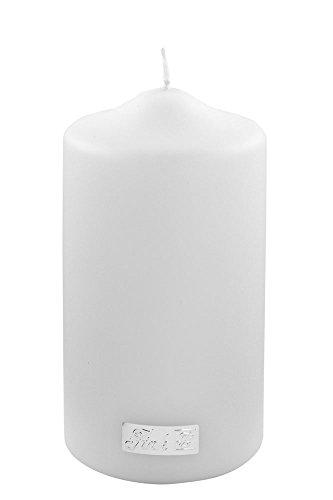Fink Candle/Stumpenkerze,weiß,getaucht/H.15cm,D.8cm