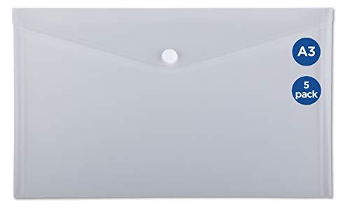 HF2 191161 Dokumententaschen A3 Querformat mit Klettverschluss, 5 Stück Klar Weiß