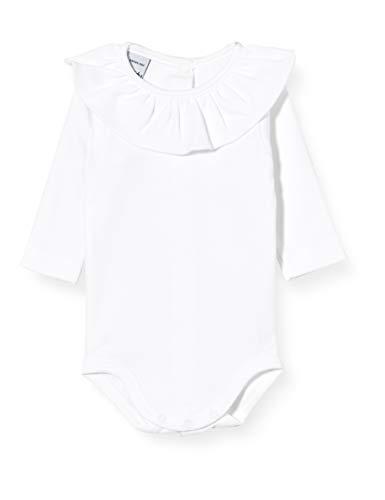 Babidu ODY Cuello Volante Manga Larga Ropa interior, BLANCO, 3 MESES Unisex bebé