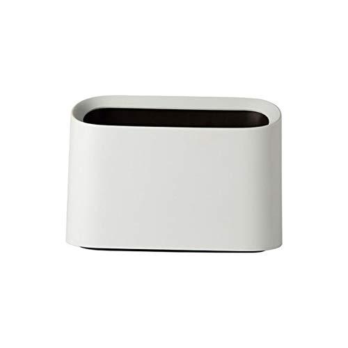 Cttiuliljt Trash Can, Mini Trash Can Abfalleimer Desktop-Müll Papierkorb Startseite Müll Rollen kann Schaukel Schreibtisch Aufbewahrungsbox (Color : White)