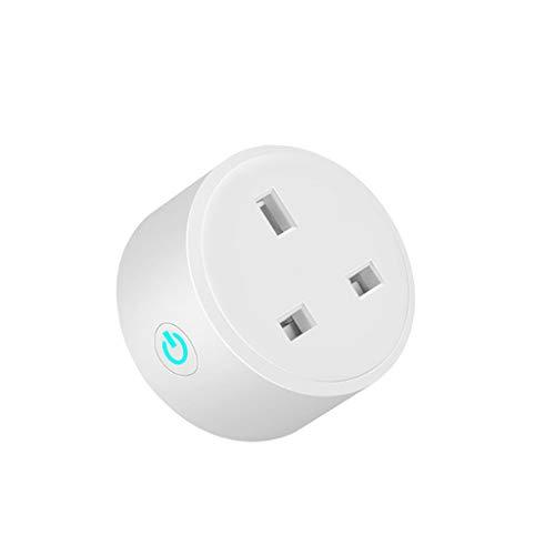 Fivekim UK Plug 13A WiFi Smart Plug - Interruptor de alimentación inalámbrico para casa con toma de potencia, contador wifi inteligente, color blanco
