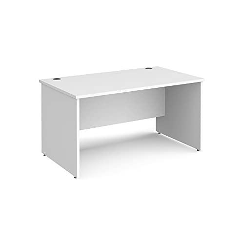 Maestro 25 - Escritorio rectangular (800 mm de profundidad, con patas de panel, 140 cm), color blanco