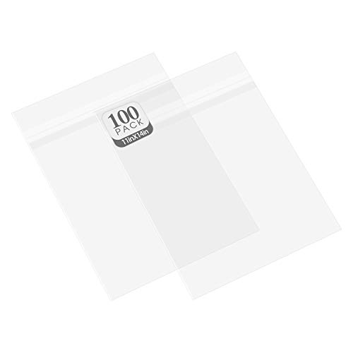 Golden State Art, Pack of 100, Acid-Free Crystal Clear Sleeves Storage Bags for Photo Prints Framing Mats Mattes (Bag Size: 11 3/8 x 14 1/8 inches for 11x14 Mats)