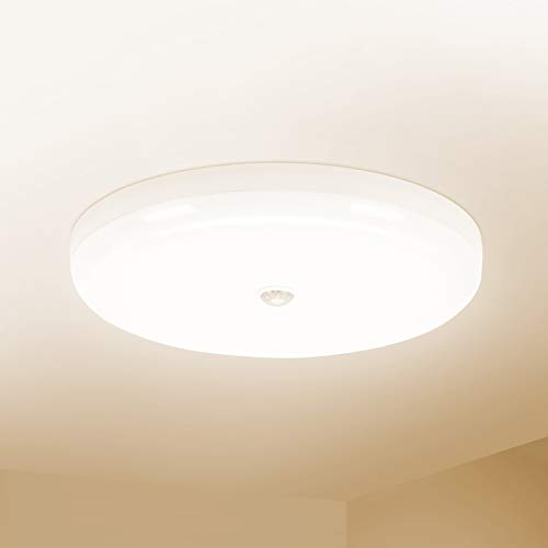 Combuh LED Lámpara de Techo con Sensor de Movimiento 30W Impermeable IP56 Blanco Natural 4000K 2400Lm Fácil de Instalar Plafon LED para Cocina, Baño, Oficina, Porche, Garaje Ø25Cm