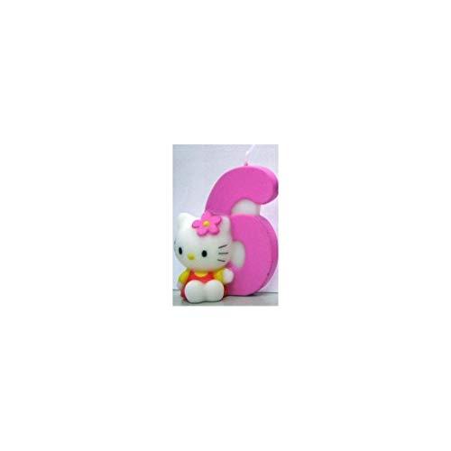 Dekoback 02-08-00173 - Vela para Tartas con número 6, diseño de Hello Kitty