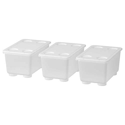 IKEA GLIS - Cajas de plástico con tapa apilables para picnic o fiestas al aire libre, 17 x 10 cm, color a elegir (3 unidades), transparente