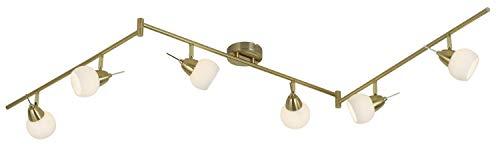 LED Decken Lampe Spot Leiste verstellbar Wohn Zimmer Glas Strahler Messing Leuchte Esto 760055-6
