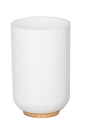 WENKO Zahnputzbecher Posa, moderner Zahnbürstenhalter für Zahnbürste und Zahnpasta aus weißem Kunststoff mit nachhaltigen Bambus-Akzenten, Maße (B/T x H): Ø 7 x 11 cm, Weiß