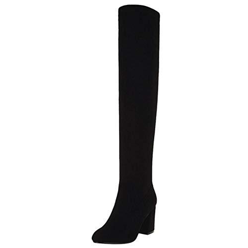 COOLCEPT Damen Stiefel Mode Stretch Stiefel Blockabsatz Lange Stiefel Party Buro High Boots Stiefel Black Gr 48 Asian