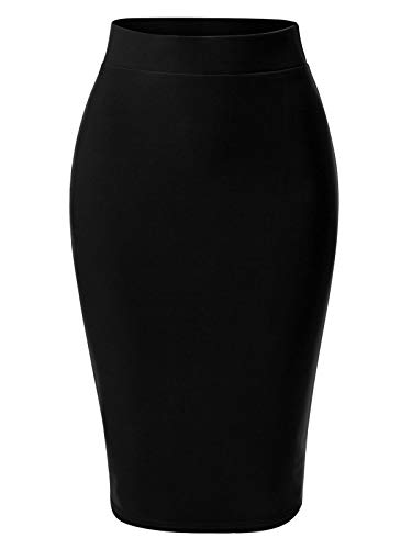 MixMatchy Women's Casual Classic Bodycon Pencil Skirt Black 2XL