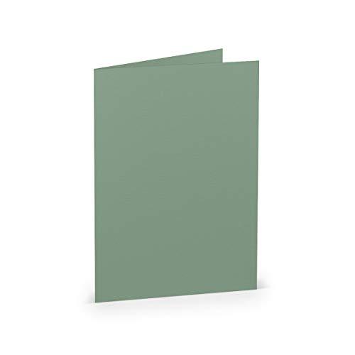PAPERADO 200 Faltkarten DIN B6 Eucalyptus gerippt - Doppelkarten vorgefaltet blanko 220 g/m² - 24 x 16,9 cm - Klappkarten Basteln Einladungskarten Hochzeit Kommunion