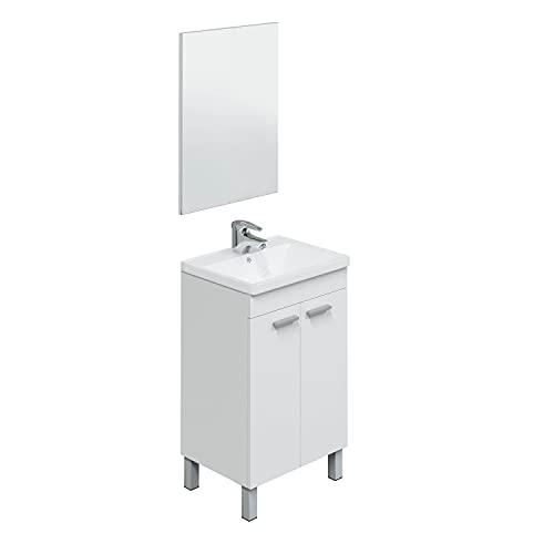 Abitti Mueble Lavabo de baño-Aseo pequeño con Espejo Incluido y lavamanos cerámico, 2 Puertas Color Blanco Brillo 50 Ancho x 80 Alto x 40 Profundidad