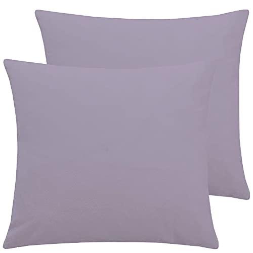 Brit Cotton Kissenbezüge für Sofa / Bett, einfarbig, 35 x 35 cm, Schlafzimmer-Dekoration und Heimdekoration, quadratischer Kissenbezug für Couch (lila, 2 Stück)