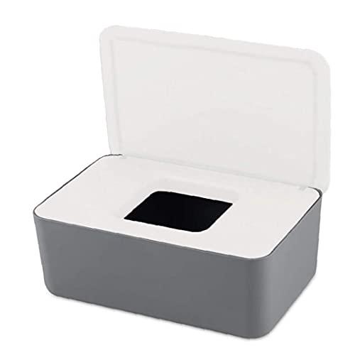 Tuimiyisou Dispensador toallitas húmedas, húmeda Caja de pañuelos, toallitas Titular con Tapa seco húmedo de Papel de Tejido del Blanco Gris