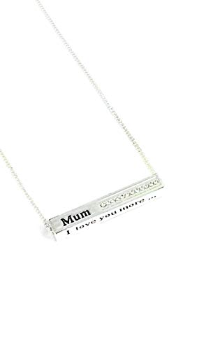 Equilibrium Silver Plated Sparkle Block Necklace inscribed with the words'Mum I Love You more.'