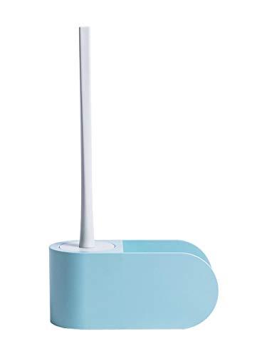 Hangen hoogwaardige siliconen toiletborstel en houder – aan de muur bevestigd pak toiletborstel met lange greep toiletpunch, toiletborstel, kunststof toiletreiniging. lichtblauw