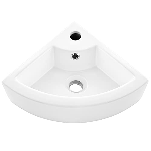 VASOYO Small Corner Bathroom Sink Wall Mount White Triangle Porcelain Ceramic Above Counter Mini Wall Vanity Vessel Sinks with Single Faucet Hole and Overflow