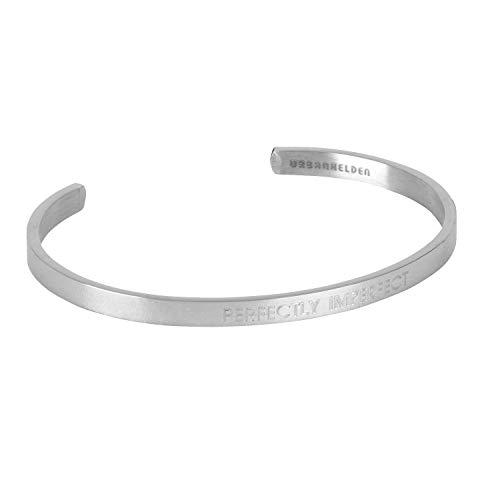 URBANHELDEN - Armreif mit Spruch - Damen Schmuck Inspiration Motivation - Verstellbar, Edelstahl - Armband mit Gravur Perfectly Imperfect - Silber
