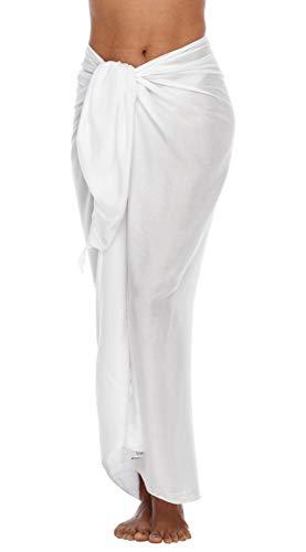 SHU-SHI - Pareo para mujer - Diseño en colores lisos - Talla única - Blanco