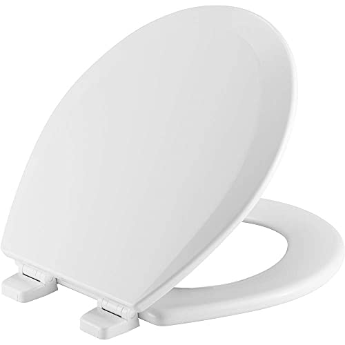 Toilet Seat will Never Loosen and Provide the Perfect Fit, ROUND, White