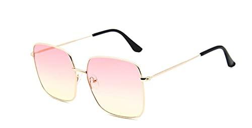 ShZyywrl Gafas De Sol De Moda Unisex Gafas De Sol Cuadradas De Gran Tamaño, Gafas De Sol De Metal para Mujer, Lentes Transparentes De Diseñador De Moda, Gafas